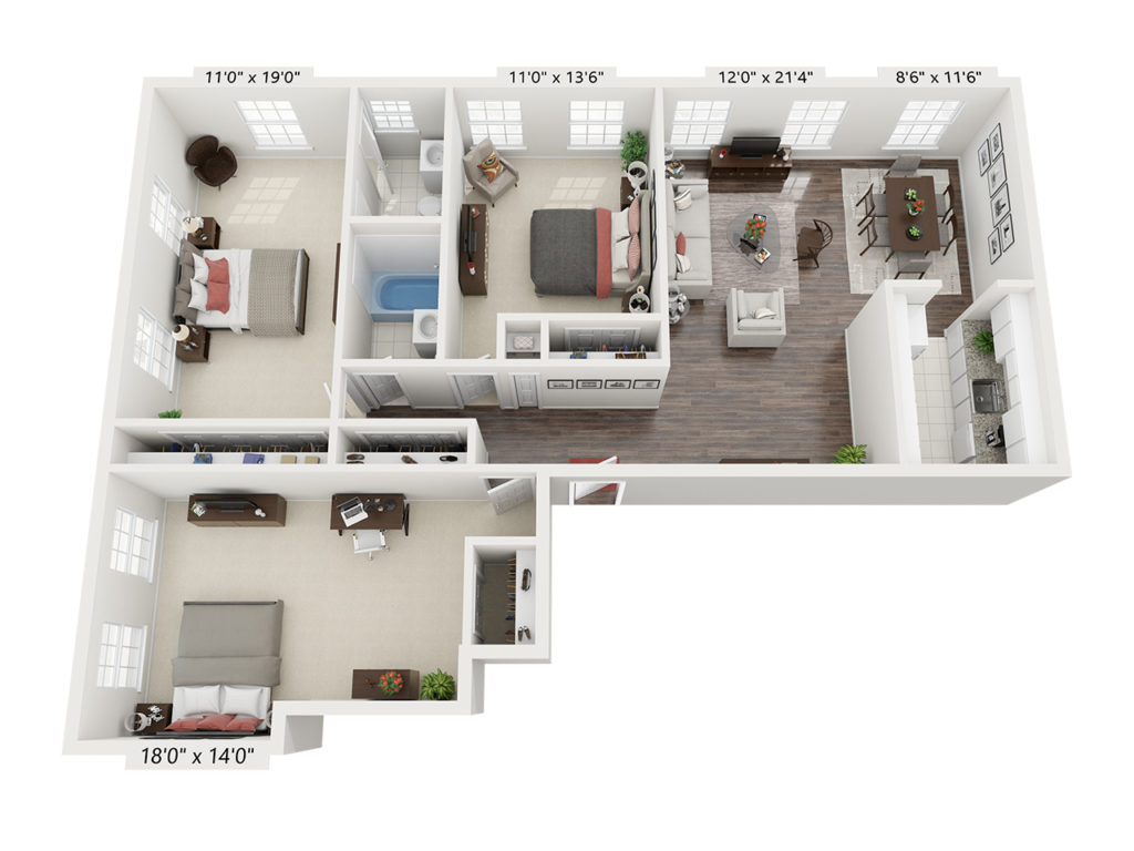 Marks 3 Bed 2 Bathroom Floor Plan