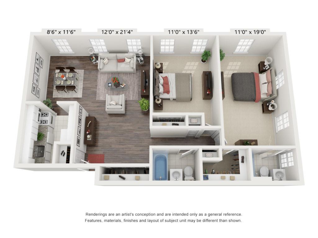 One Mongomery 2 Bed 2 Bath Floorplan